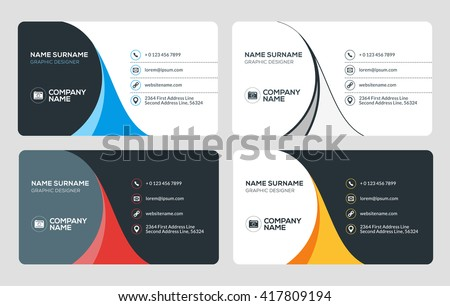 Business Card Vector Template. Flat Style Vector Illustration. Stationery Design. 4 Color Combinations. Print Template - stock vector