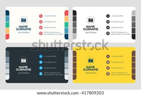 Business card vector template flat style stock vector royalty free business card vector template flat style vector illustration stationery design 4 color combinations reheart Gallery