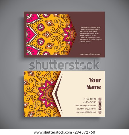 Business Card. Vintage decorative elements. Ornamental floral business cards, oriental pattern, vector illustration.  Islam, Arabic, Indian, turkish, pakistan, chinese, ottoman motifs - stock vector