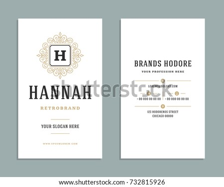 Business card vintage ornament style luxury stock vector 732815926 business card vintage ornament style and luxury logo vector template retro elegant flourishes ornamental frames colourmoves
