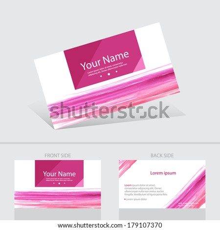 Business card watercolour abstract background templete. Vector illustration. - stock vector