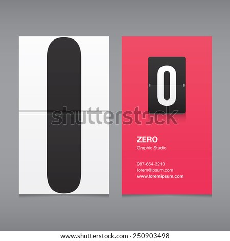 Business card with a number logo, numeral zero - stock vector
