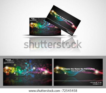 business card With abstract vector background - stock vector