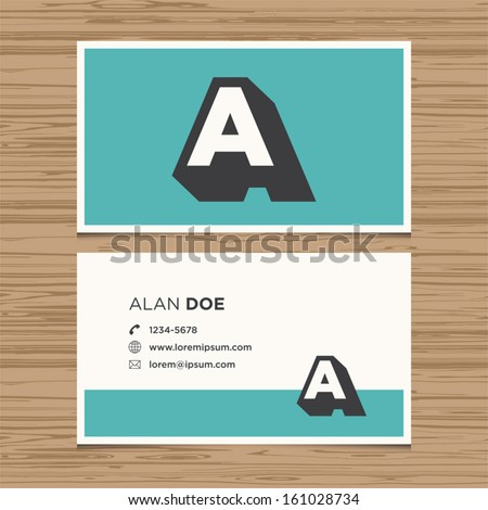 Business card with alphabet letter A. Vector template editable. Vintage design.  - stock vector