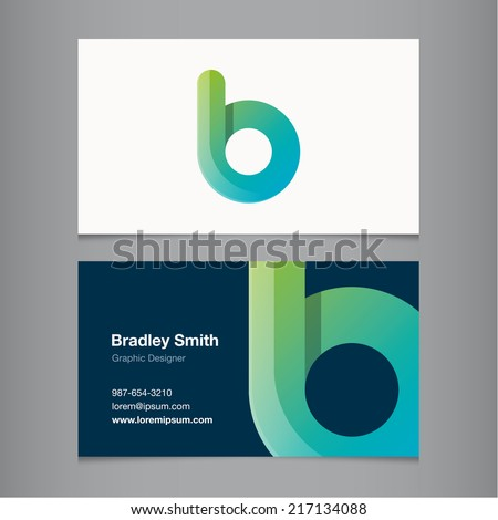 Business card with alphabet letter b. - stock vector