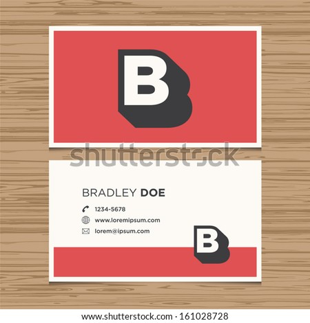 Business card with alphabet letter B. Vector template editable. Vintage design.  - stock vector