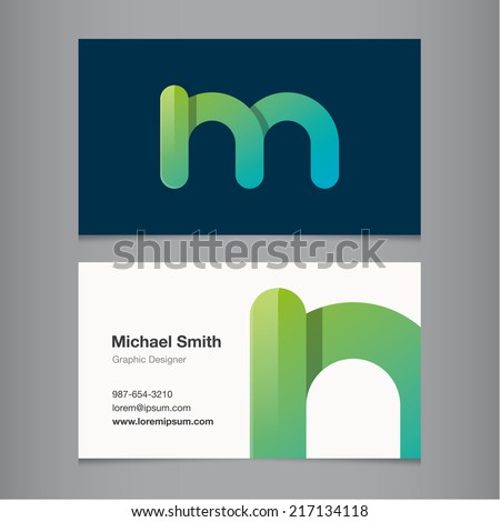 Business card with alphabet letter m. - stock vector