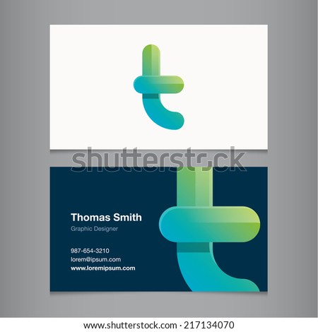 Business card with alphabet letter t. - stock vector