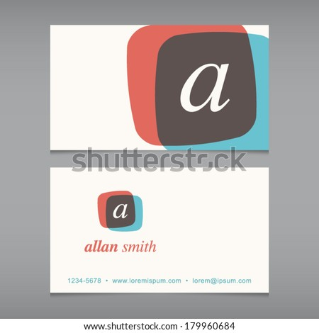 Business card with alphabet letter . Vector design template editable. Vintage design.  - stock vector