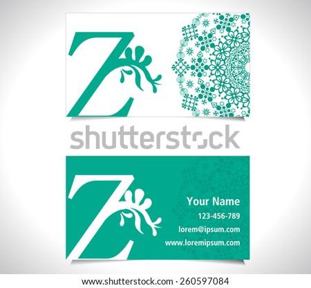 Business card with alphabet letter Z, creative Z letter logo concept - vector eps10 - stock vector