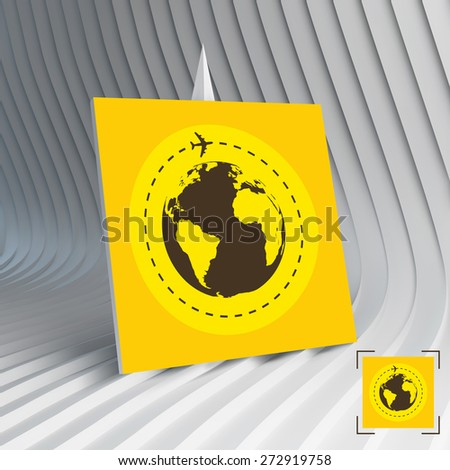 Business card with earth globe and airplane. Can be used for advertising, marketing, presentation. Travel concept. 3d vector illustration. - stock vector
