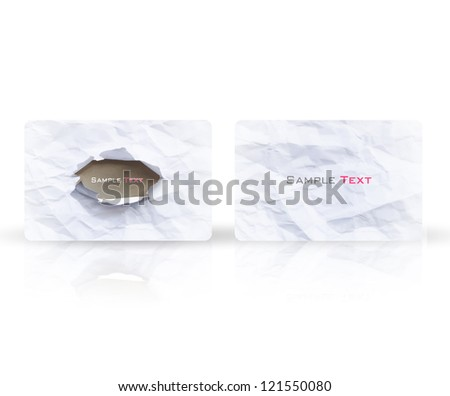 Business card with hole. Vector design. - stock vector