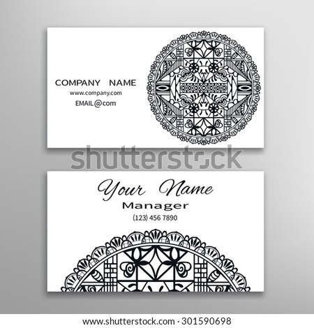 Business card with Mandala ornament, decorative ornate invitation collection. Hand drawn Islam, Arabic, Indian, lace pattern. Black and white collection - stock vector