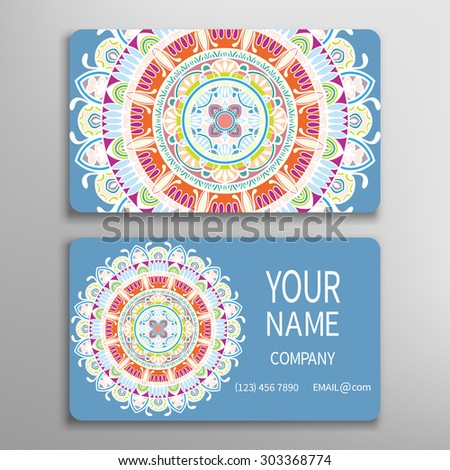 Business card with Mandala ornament, decorative ornate invitation collection. Hand drawn Islam, Arabic, Indian, lace pattern - stock vector