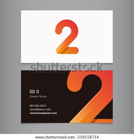 Business card with number 2 - stock vector