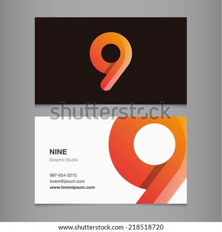 Business card with number 9 - stock vector