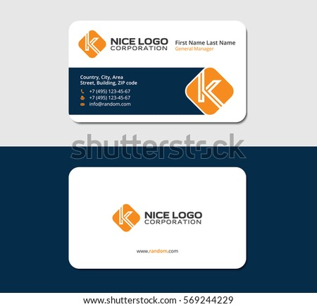 Business card letter k orange color stock vector 2018 569244229 business card with the letter k orange color white backside colourmoves