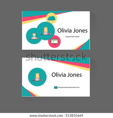 Business card trendy flat design icons stock vector 313835669 business card with trendy flat design of icons front and back of business cards colourmoves