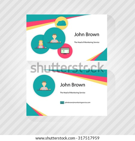 Business card trendy flat design icons stock vector hd royalty free business card with trendy flat design of icons front and back of business cards colourmoves