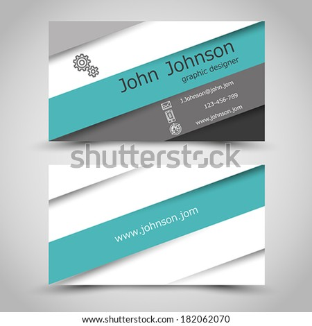 business card with turquoise stripes. office concept - stock vector