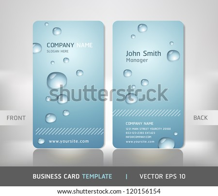 Business Card with water drop. Vector illustration. - stock vector