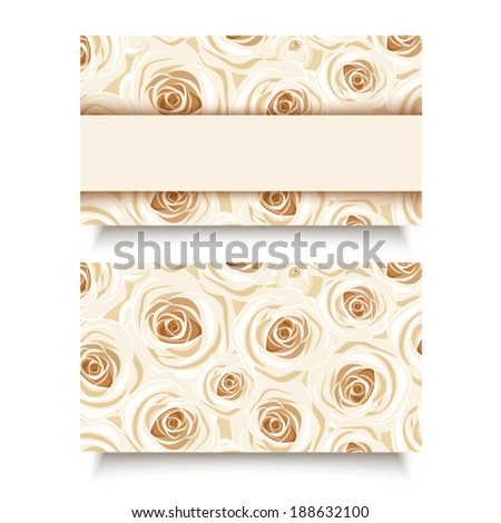 Business card with white roses. Vector EPS-10. - stock vector