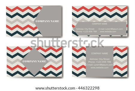 Business Card with zigzag. Vector illustration.