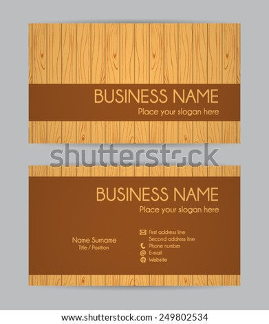 Business card. Wooden design. Front and back. Vector set IV. - stock vector