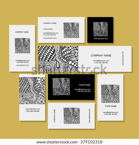 Business card, zentangle ornament design - stock vector
