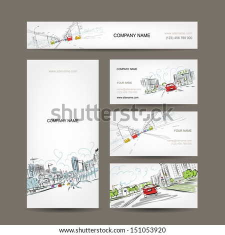 Business cards collection, cars on city road for your design - stock vector