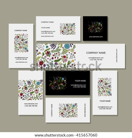 Business cards collection, floral design - stock vector