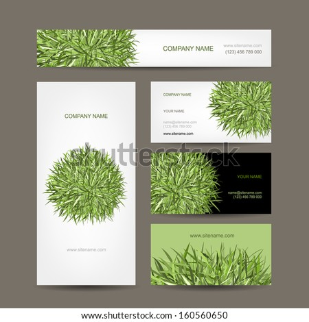 Business cards collection, green meadow design - stock vector