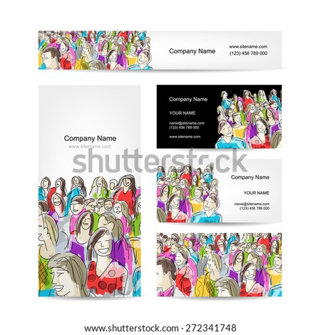 Business cards collection, people crowd design. Vector illustration - stock vector