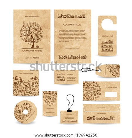 Business cards collection with coffee concept design - stock vector