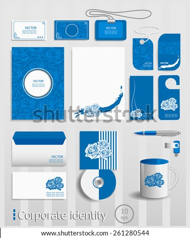 Business cards collection with roses concept design. Ultimate vector set of printing materials template for branding identity. - stock vector