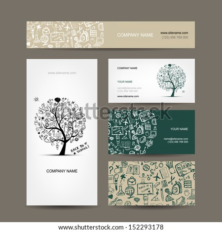 Business cards collection with school sketch for your design - stock vector