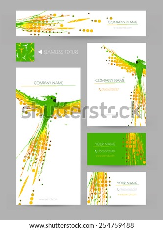 Business cards design. A set of cards with a parrot.  - stock vector