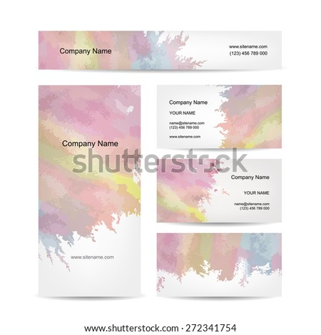 Business cards design, abstract watercolor background. Vector illustration - stock vector