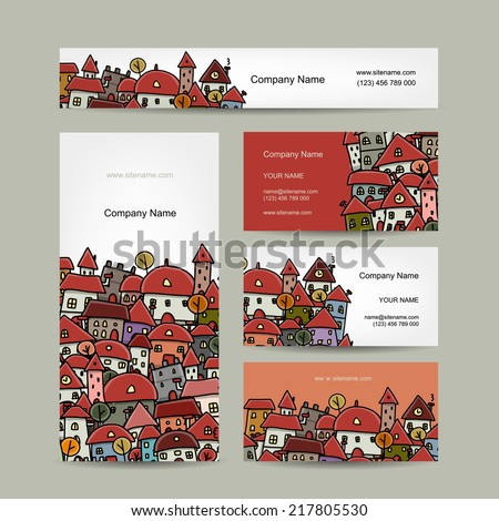 Business cards design, cityscape sketch - stock vector