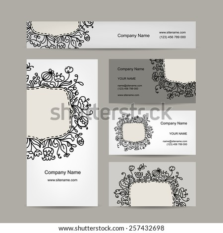 Business cards design, floral ornament, vector illustration - stock vector