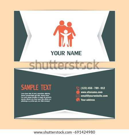 Business cards design happy family icon stock vector 2018 business cards design happy family icon in simple figures dad mom and child colourmoves
