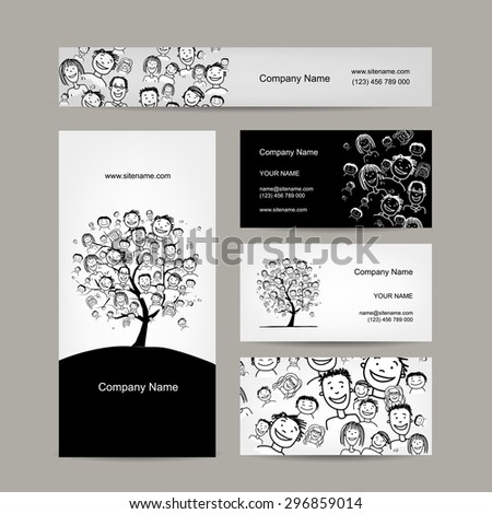 Business cards design, people tree. Vector illustration - stock vector