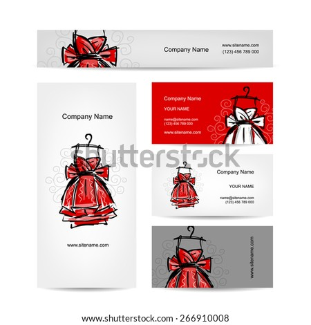 Business cards design, red dress. Vector illustration - stock vector