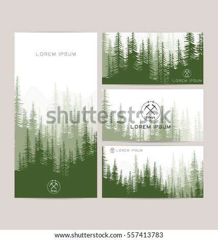 Business cards design set green forest stock vector 557413783 business cards design set of green forest and mountains backgrounds templates design for greeting reheart Image collections
