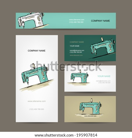 Business cards design, sewing machine sketch - stock vector