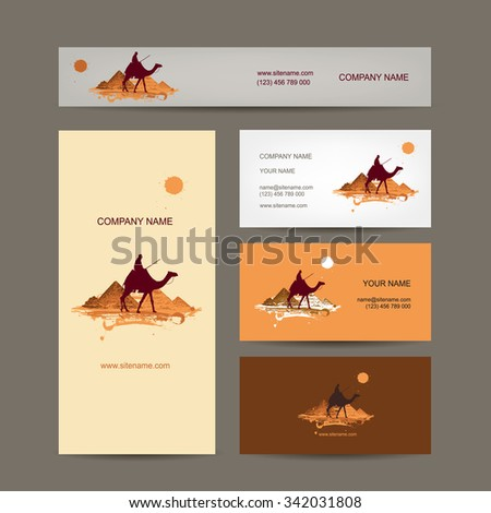 Business cards design. Traveling by camel at pyramids. Vector illustration - stock vector