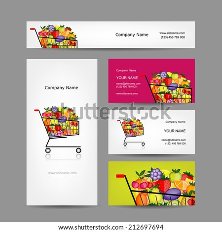 Business cards design, trolley with fruits, vector illustration - stock vector