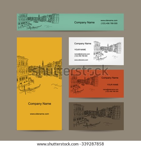 Business cards design, Venice city sketch. Vector illustration - stock vector