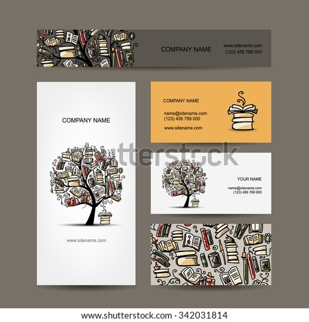 Business cards design with book tree. Vector illustration