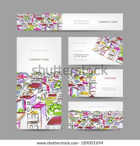Business cards design with citycsape sketch - stock vector